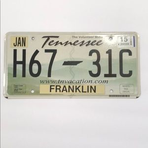 Tennessee license plate